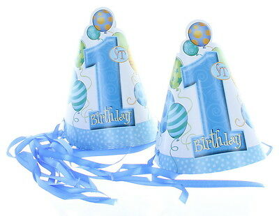 Blue Boys 1st Birthday 8 Party Hats Party Supplies