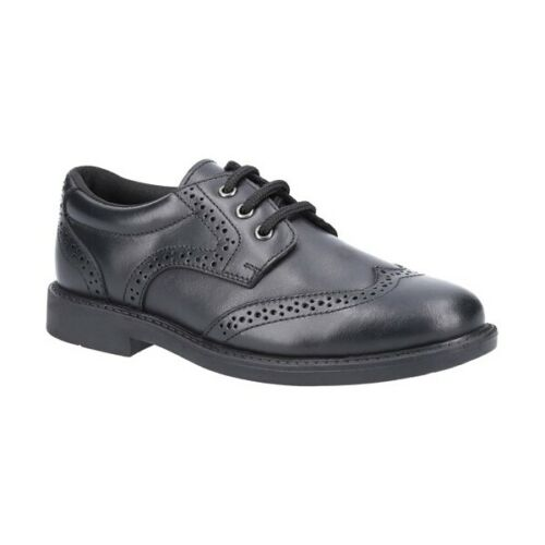 Hush Puppies HARRY Boys Casual Smart Genuine Leather Lace Up Fasten Shoes Black