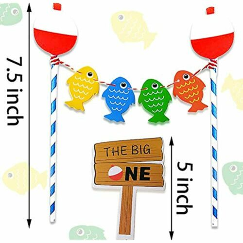 Set Of 2 Ofishally One Banner Gone Fishing Party Decorations The Big One Cake