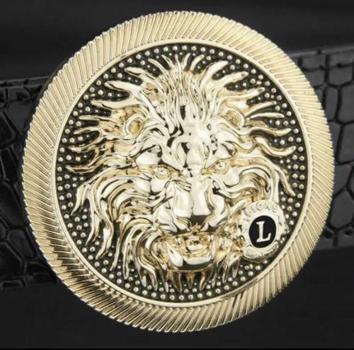 MENS DESIGNER BELTS NEW LION PIN BUCKLE LEATHER BELT FOR MEN JEANS G S M L XL UK