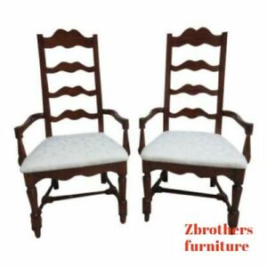 Outstanding Details About Pair Pennsylvania House Cherry Ladderback Dining Room Desk Arm Chairs Set B Ibusinesslaw Wood Chair Design Ideas Ibusinesslaworg