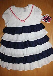 Gymboree Cape Cod Cutie white stripe dress New NWT girls 8 navy blue nautical