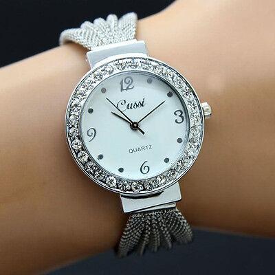 New Women's Lady Bracelet Stainless Steel Silver Crystal Dial Quartz Watch