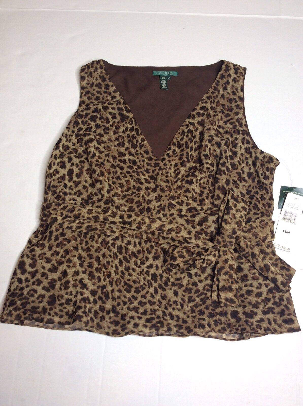 VTG Ralph Lauren Cape Grace Tanzania braun Animal Print Silk Blouse damen 16W