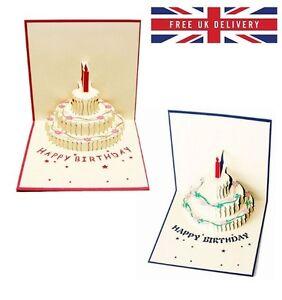 Happy Birthday 3d Cake Pop Up Handmade Kirigami Greeting Card