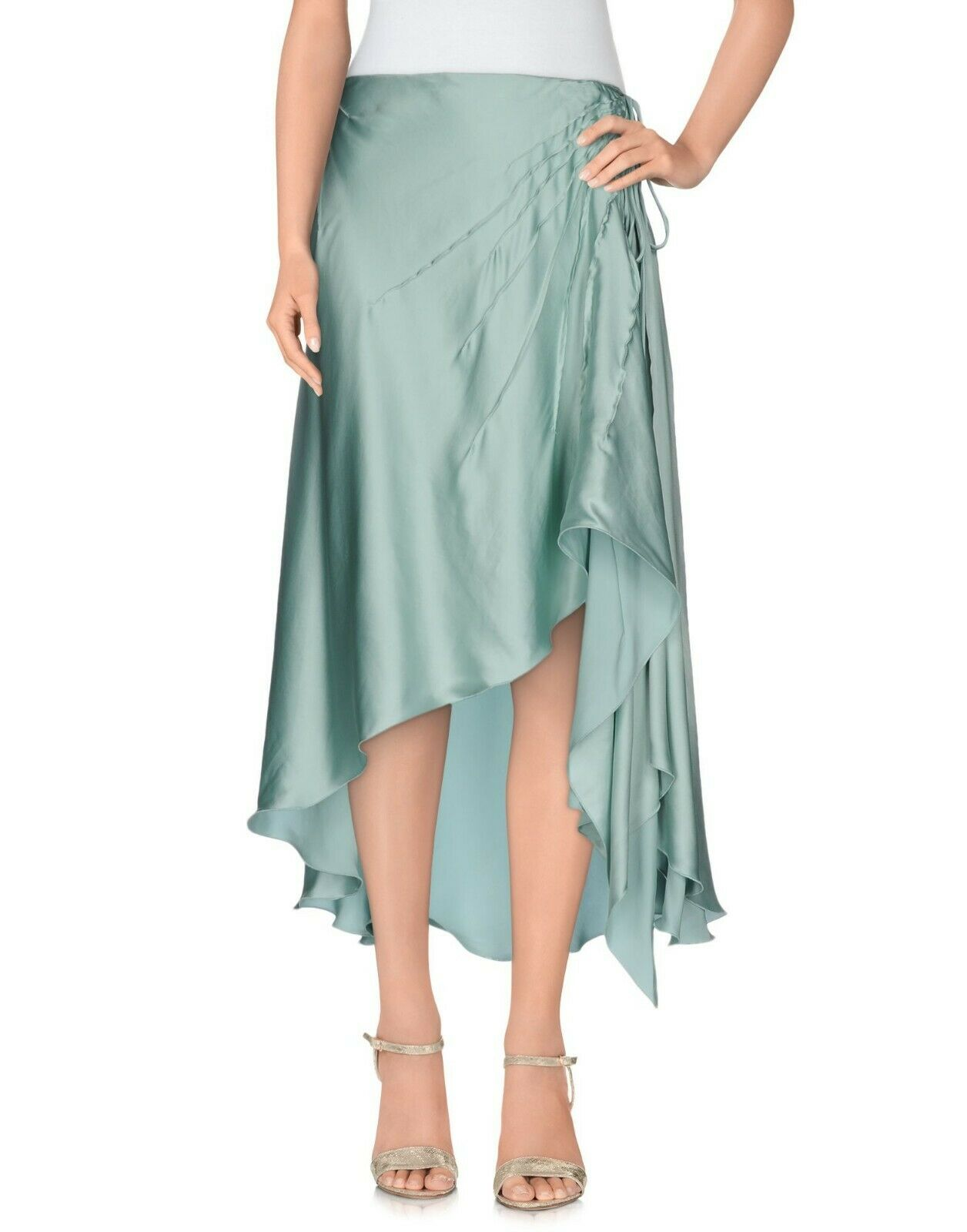 bluemarine Light Green Silk Knee Length Asymmetric Skirt 6 US   40 IT