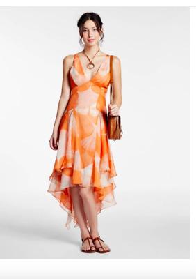 Halston Heritage Printed Crinkle Chiffon Hi Lo Dress Sz 8