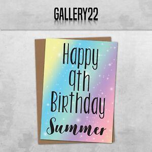 Personalizzato Arcobaleno E Stelle Biglietto Di Auguri Compleanno