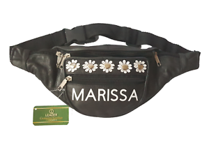 PERSONALISED NAME 100/% Leather Black Bum Bag Fanny Pack Daisy Festival Waist