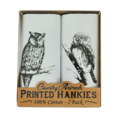 Men's 100/% Cotton Country Scene Printed Handkerchief//Hanky Fishing//Owl//Dog//Fox