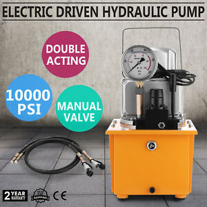 Electric-Driven-Hydraulic-Pump-10000-PSI-Double-acting-manual-valve