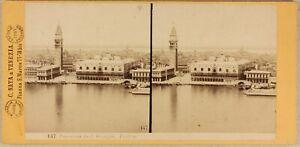 Italia-Venezia-San-Giorgio-c1865-Foto-Carlo-Naya-Stereo-Vintage-Albumina