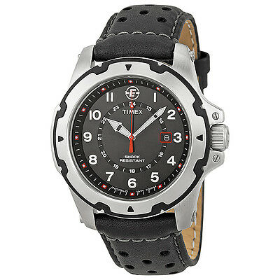 Timex Expedition Rugged Field Black Dial Black Leather Mens Watch T49625