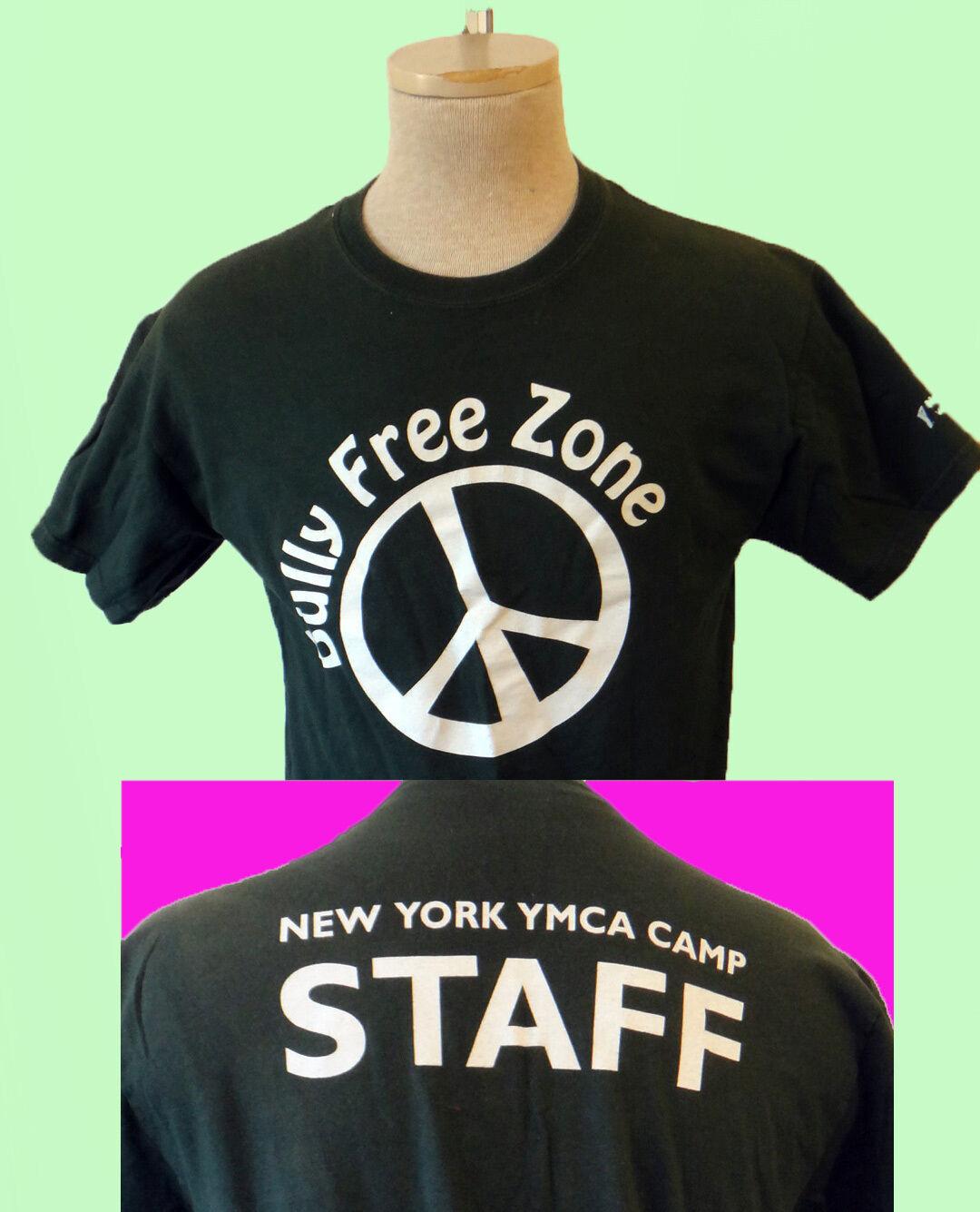 NO BULLY free zone lifeguard new york city ymca camp medium peace sign staff vtg