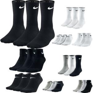 Nike-PERFORMANCE-3-ppk-Pair-Mens-Womens-Unisex-Cotton-Crew-Ankle-Sports-Socks