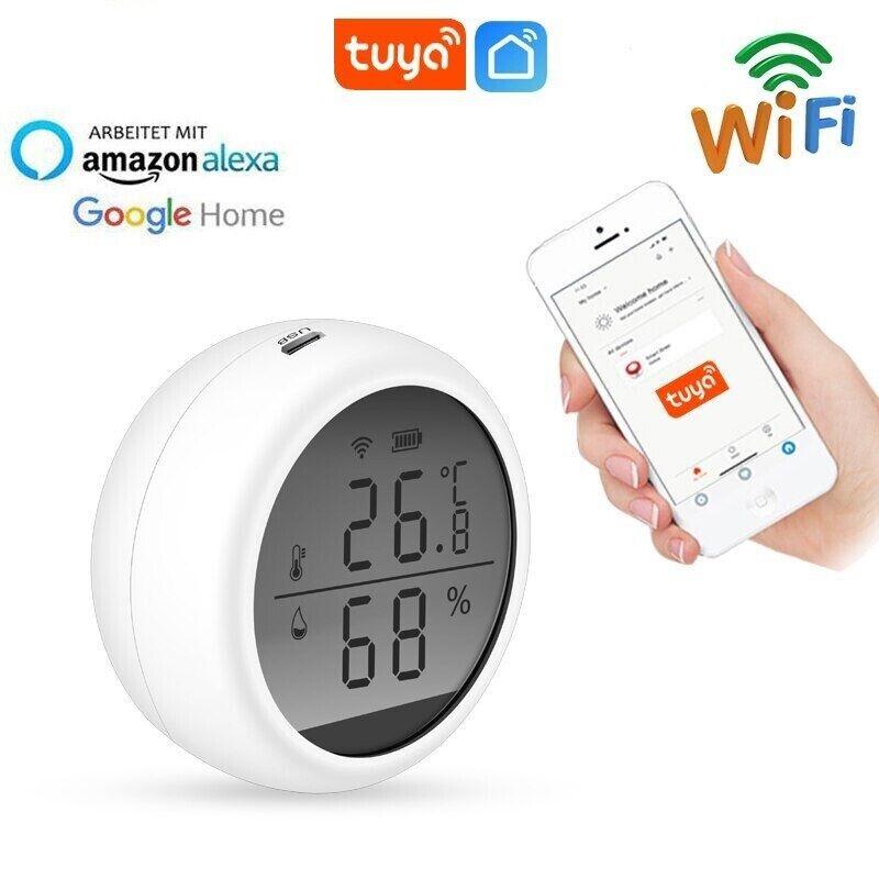 WiFi Temperature Sensor Humidity Detect Hygrometer LCD Display Alexa Google Home