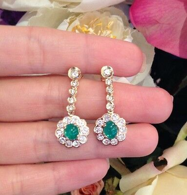 2.61 ct Emerald and Diamond Drop Earrings in 14K Yellow Gold - HM1286SZ
