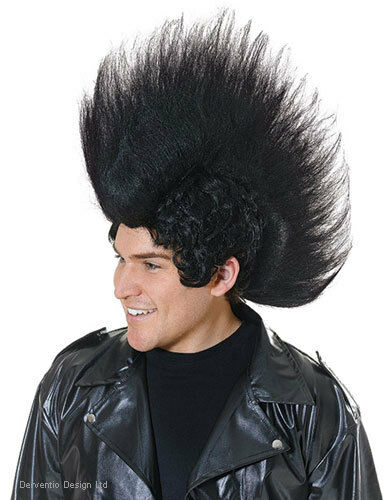 MENS BIG SILLY 70s 80s PUNK ROCK STAR MOHAWK FANCY DRESS COSTUME BLACK WIG NEW