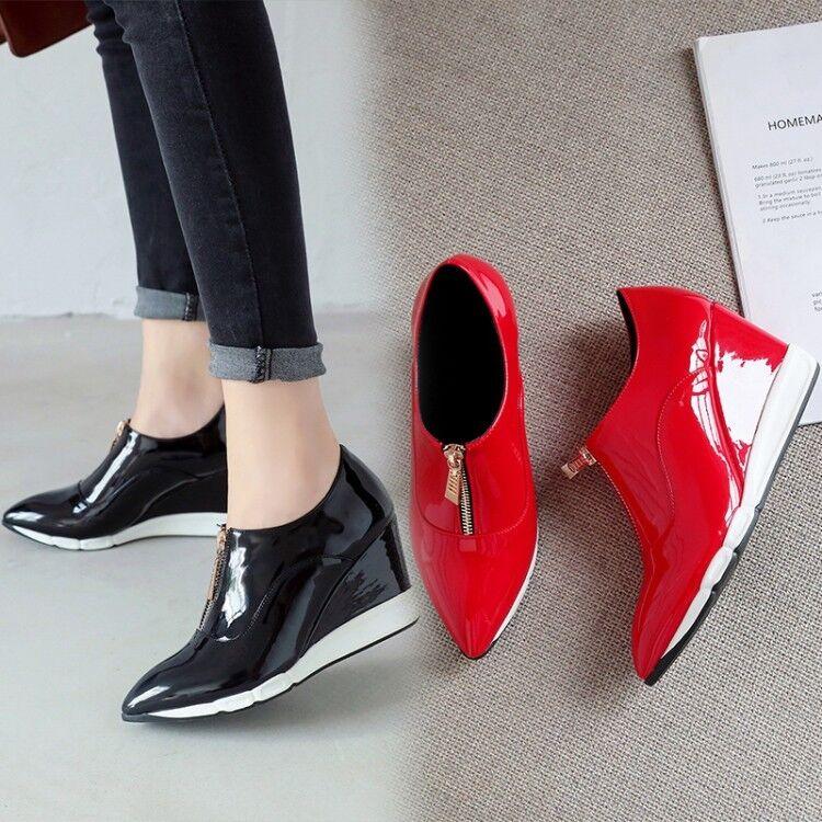 Para mujeres Tenis frontales con cremallera Cuña Tacón Alto Plataforma Zapatos De Charol Low Top