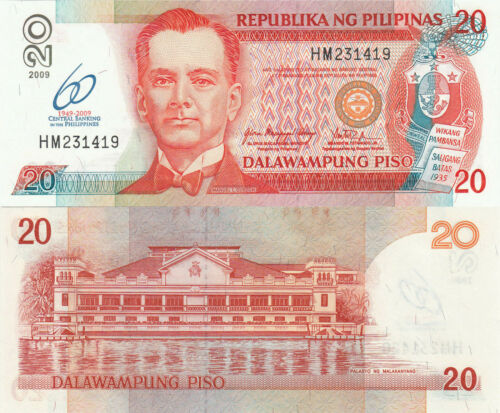 Philippines 20 Piso 2009 Quezon//Palace//60 Years of Central Bank//p200 UNC