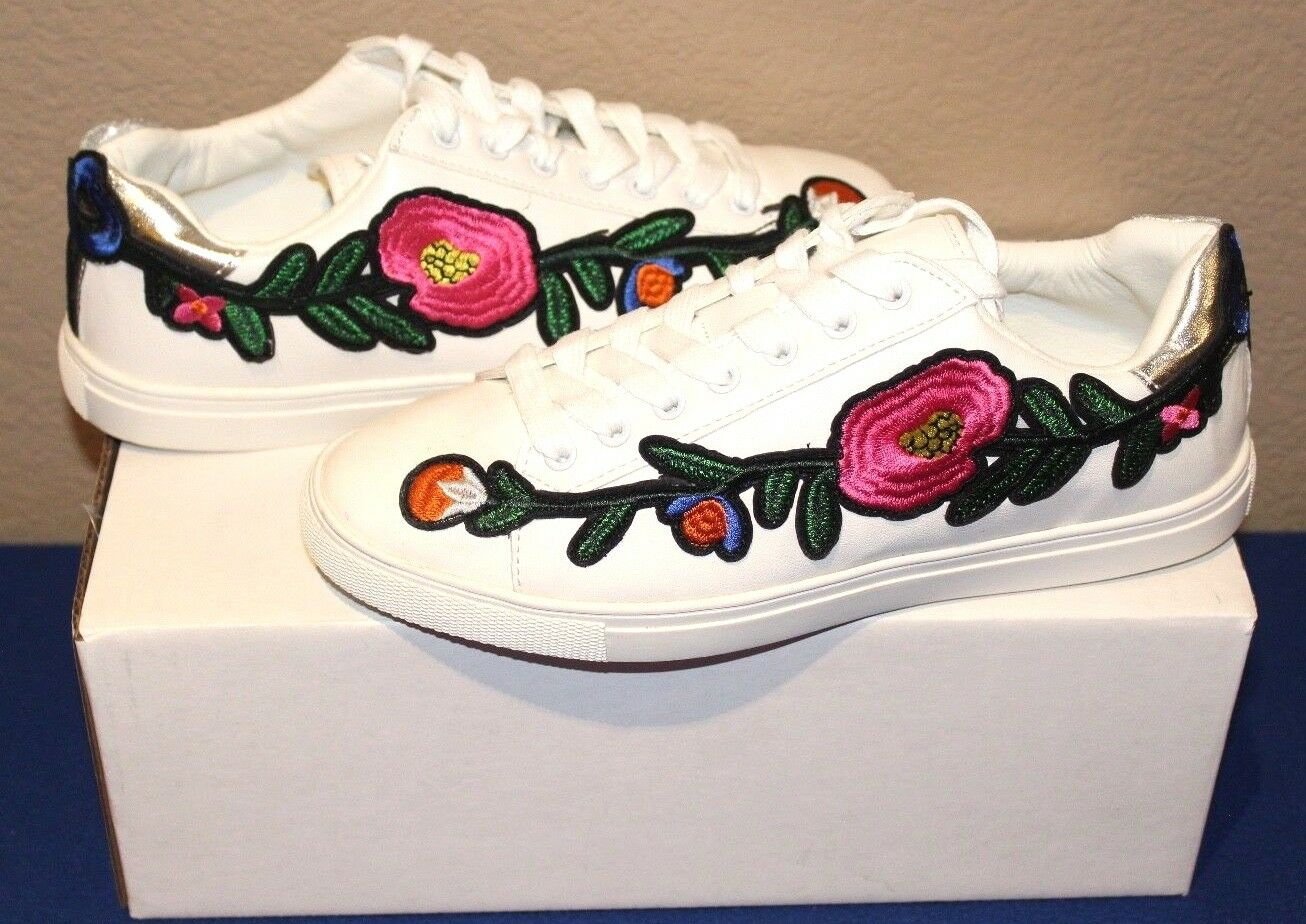 DG LUXSPORT Floral Embroidered Novelty Sneaker Lace Up White 9 - 9.5W NEW
