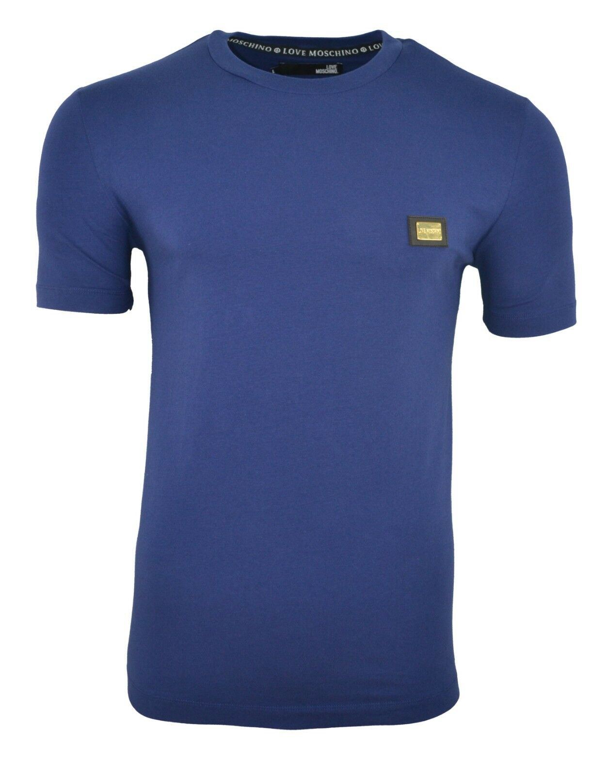 LOVE MOSCHINO METAL CHEST BADGE T-SHIRT SLIM STRETCH MUSCLE FIT NAVY Blau