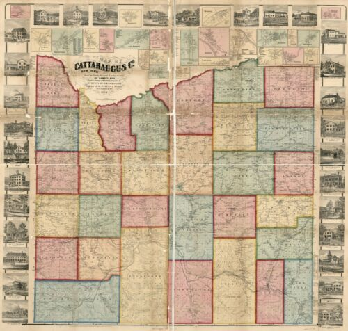 """24/"""" x 24/"""" 1856 Map of Cattaraugus Co. New York from the county records"""