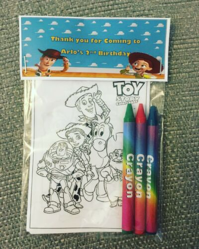 10x Personalised Toy Story Colouring PacksBirthdayParty Favours