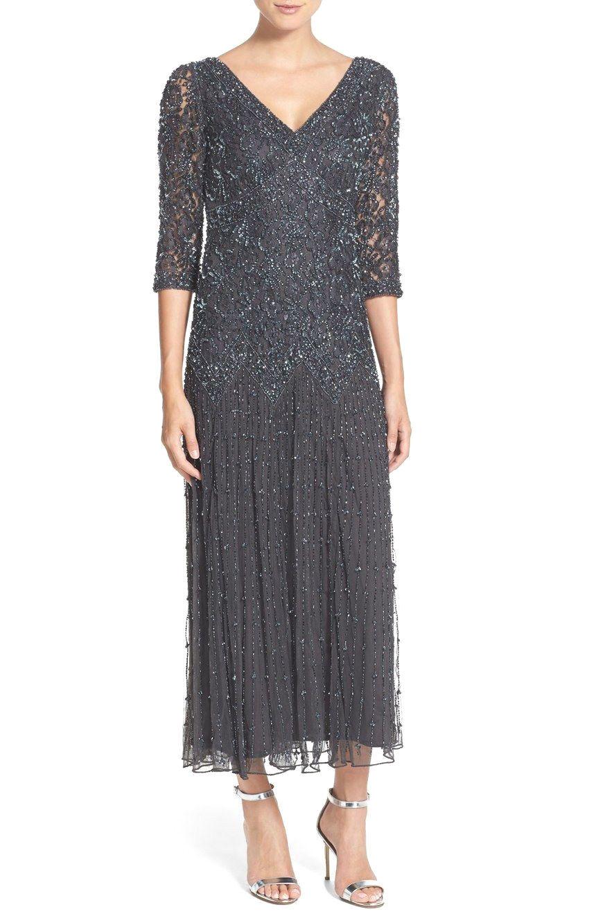 Pisarro Nights 9423 Mocha Slate Beaded Mesh Drop Waist Gown Dress Size 4P New