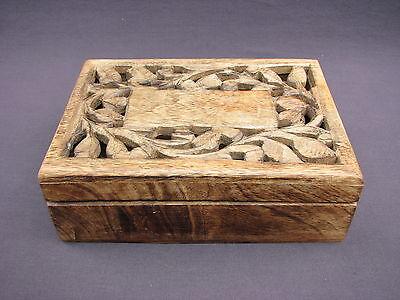 Vintage Hand Made Carved Oak Wood Lattice Vine Leaf Keepsake Trinket Jewelry Box