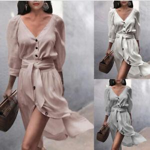 Cocktail-Dress-V-neck-Maxi-Dresses-Party-Long-Summer-Beach-Women-Slit-Sundress