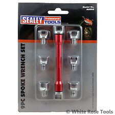 Sealey Motorcycle 9pc Spoke Wrench Set 5.4-6.8mm Motorbike Buckled Wheel