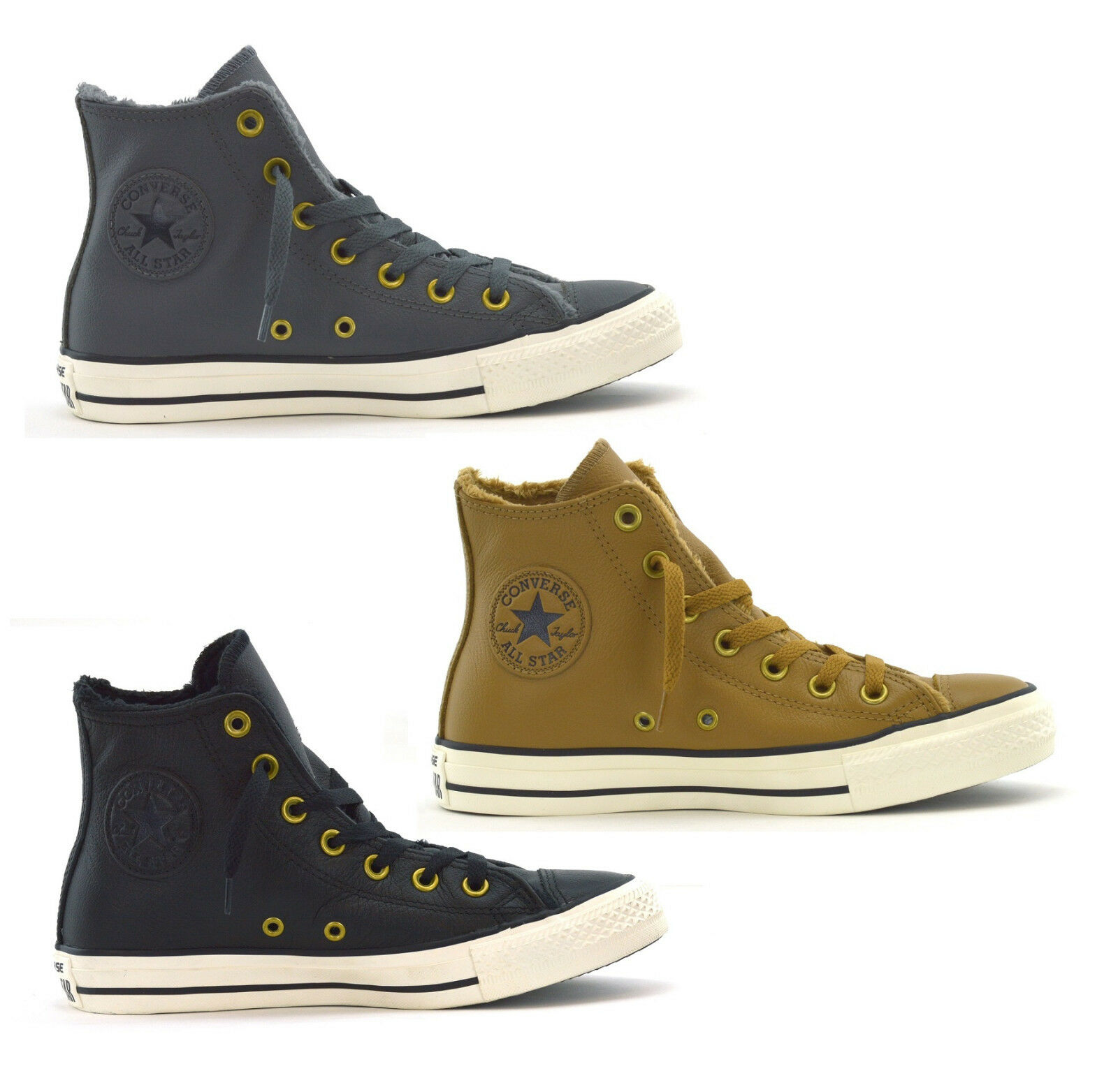 CONVERSE CTAS HI LEATHER & FAUX FUR  LINED-WOMENS SNEAKERS-CHOICE OF COLOURS-NEW