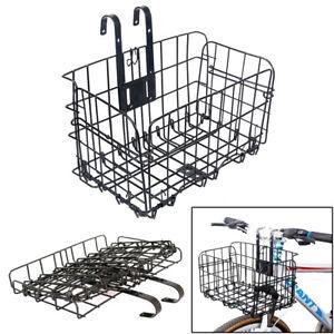 Fold-Up Bicycle Basket Wire Mesh Bike Front Handlebar Storage Rear Hanging MBT