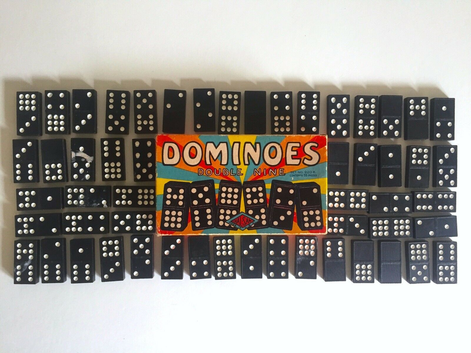 VINTAGE MID CENTURY 1940'S HALSAM DOUBLE NINE DOMINOES GAME ORIGINAL BOX SET