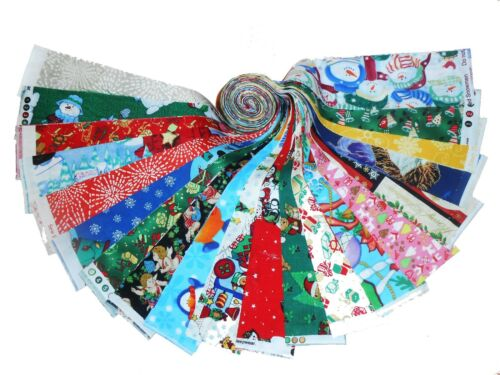 """20 2.5/"""" Christmas Medley Quilting Fabric Jelly roll strip 20 Different Prints#2"""