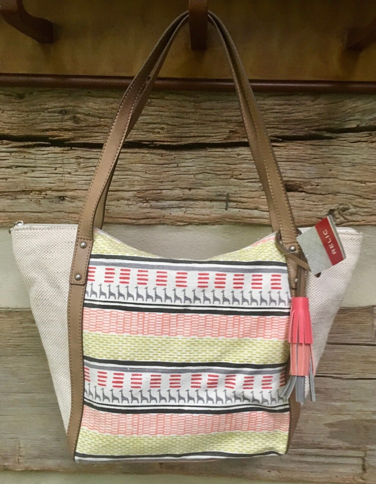 1a0a2396c8 Women s Relic Beige Tan Coral Pink Hand Bag Purse Ladies Tote ...