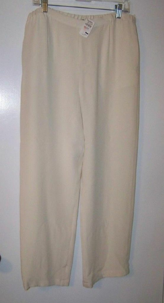 GO SILK 100% SILK WHITE FULL LEG  PANTS SZ PM NWTG  255