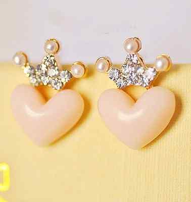 lovely Charming Crystal Rhinestone Enamel Crown Heart Ear Stud Earrings Shining