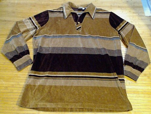 Vtg Spire Velour Shirt Stripe Button Polo 1970's C