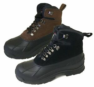 "Men's Winter Boots Leather Warm 6"" Insulated Hiking Snow Shoes"