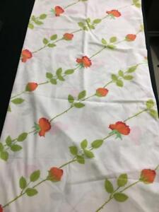 Wamsutta-flat-FULL-sheet-fabric-orange-red-flower-buds-cotton-blend-USA-made