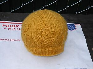 Hand-knit Acrylic Hat - Color: Goldenrod