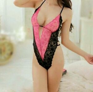 Hot-Sexy-Woman-039-s-Pink-Black-Lace-Teddy-Babydoll-Lingerie-One-Size-Fits-8-10