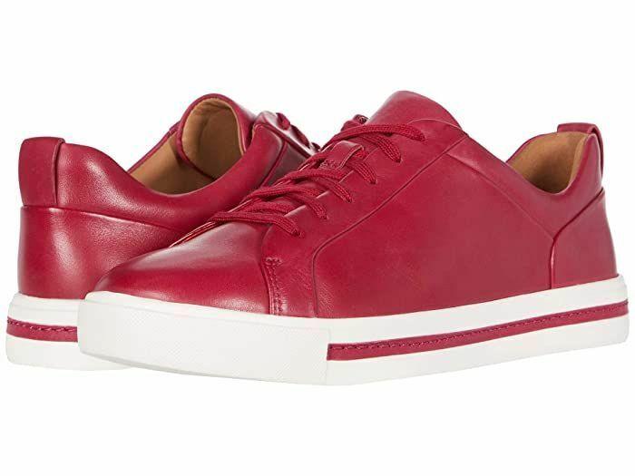 Clarks Ladies Sneakers Shoes UN MAUI LACE Raspberry Leather UK 6.5 / 40 RRP