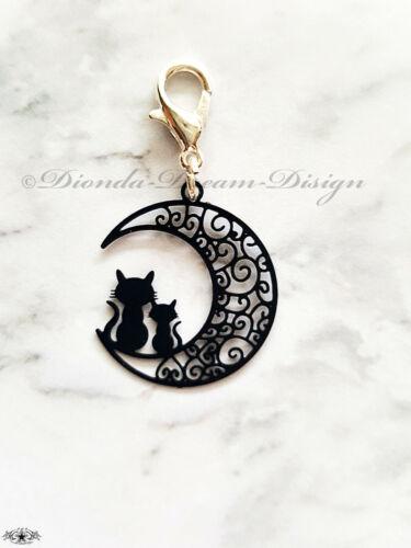 Schwarz Charm Kitty * CAT IN THE MOON Anhänger Katzen im Mond