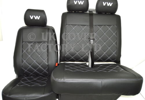 Iveco Daily IV 2006+  VAN SEAT COVERS BLACK BENTLEY STITCH PVC LEATHER X150AS