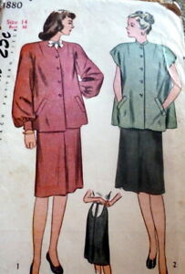 6704e051342 Image is loading LOVELY-VTG-1940s-MATERNITY-DRESS-Sewing-Pattern-14-