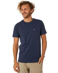 Rip-Curl-PLAIN-POCKET-TEE-Mens-Crew-Neck-T-Shirts-New-CTELL2-Navy