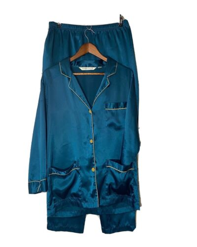 Victoria Secret Silk Teal Blue Pajama Set